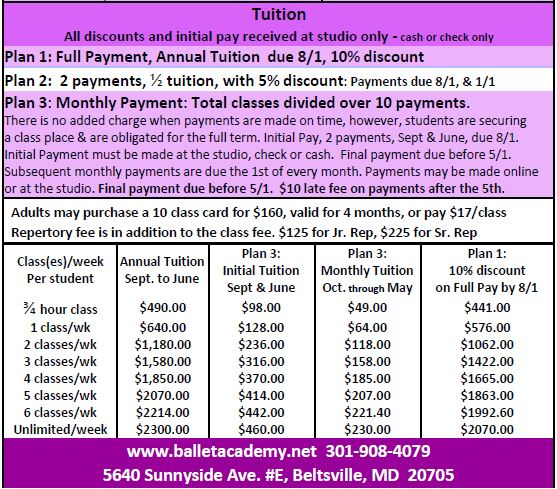 2016 tuition academic year